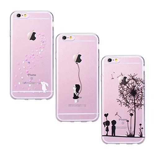 Yokata Kompatibel mit iPhone 6 Plus Hülle iPhone 6S Plus Hülle Silikon Transparent Durchsichtig Handyhülle Schutzhülle TPU Ultra Dünn Slim Kratzfest Motiv [3 Pack] - Löwenzahn + Weißer Hase + Mädchen