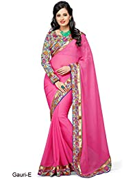 Shree Laxmi Cretion Women's Chiffon Saree With Blouse Piece Blouse (Gauri-A5_Pink_Free Size)