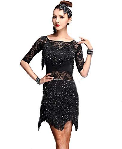 SMACO Latin-Tanzkleid für Erwachsene, Latin-Tanzkostüm Fringe Flapper Costume Dress,Black,XXL