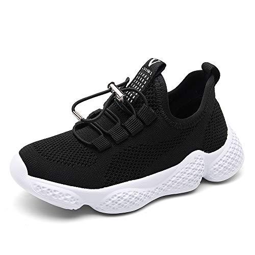 Scarpe Sportive Bambino Sneakers da Corsa Ragazzo Mesh Running Bambini Calzature Ginnastica Fitness Leggera All'aperto Ragazzi Unisex Nero 29