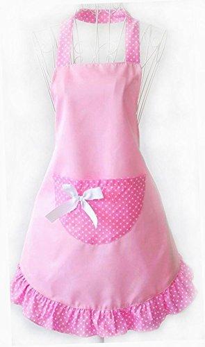 Musuntas Fashion Dots Muster Sleeveless Halter-Neck Style Baumwolle Tuch Schürze Küche Schürze pink -