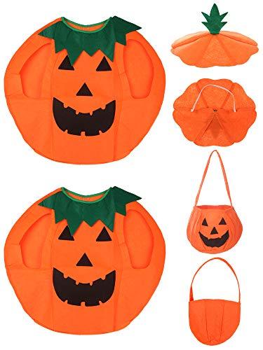 Kürbis Ein Kostüm - SATINIOR 6 Stücke Kürbis Kostüm Set für Kinder Halloween Cosplay Kleidung mit Tasche Hut