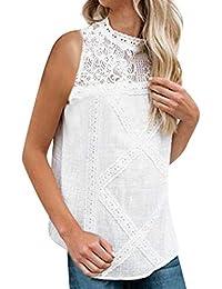 Camisetas Mujer SHOBDW Dia de la Mujer Verano Patchwork De Encaje Casual Ahuecar Volantes Manga Corta Suéter De Cuello De Tortuga Linda Blusa Floral Camiseta Blanca para Mujer