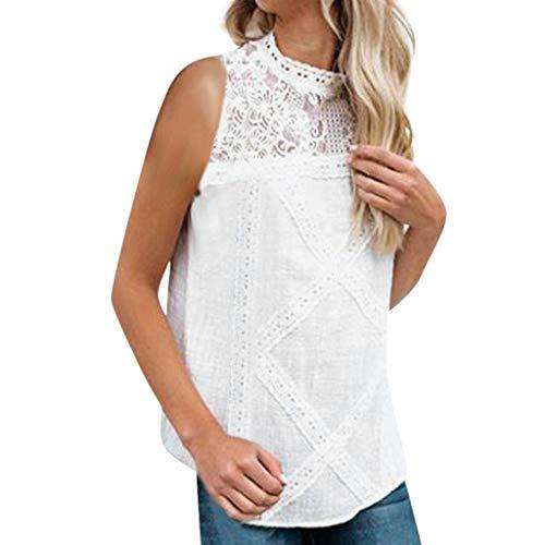 OIKAY Damen Sommer Kurzarm T-Shirt Oberteil Frauen Casual Lace Patchwork Plus Size ärmelloses Bauchfreies Top Tank Shirt Bluse -