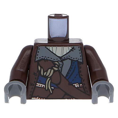 LEGO Minifiguren Oberkörper PotC genähte Jacke über dunkelgrauen Shirt / Dunkelbraun