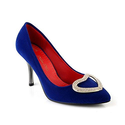 VogueZone009 Femme Couleur Unie Suédé Stylet Fermeture DOrteil Pointu Tire Chaussures Légeres Bleu