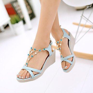 LvYuan Damen-Sandalen-Kleid Lässig-Kunstleder-Keilabsatz-Fersenriemen-Blau Lila Weiß Blue