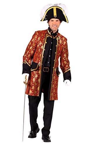 Thetru Herren Kostüm Jacke Uniform Barock rot-Gold Karneval Fasching Gr.L