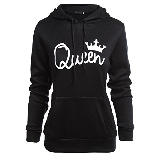 SailvanIn Unique Poly Cotton Lovers Sweatshirt KING QUEEN Print Stylish Hoodie Long Sleeve T-shirt Fashion Black New (Girl, M)