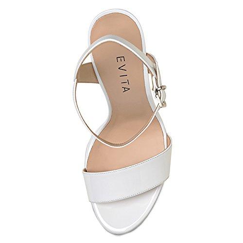 VALERIA sandales femme cuir verni Blanc