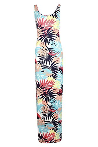 Damen Multi Jenny Tropical Drucken Scoop Hals Maxi Kleid Multi