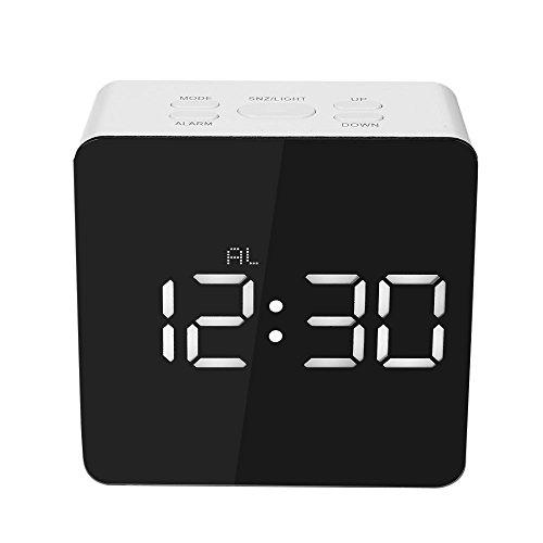 Decdeal - Led Espejo Reloj Digital con Termómetro de Interior, 12h/24h Alarma y Snooze