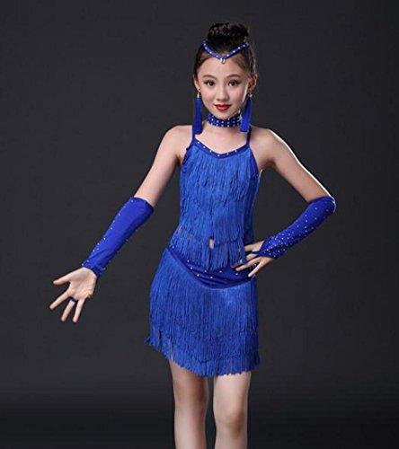 Tanz Latin Kostüm Show - Kinder Latin Dance Kostüme Tanz Show Wettbewerb Kostüme Mädchen Bohren Quasten Latin Dance üben Kleider Kinder Wettbewerb Tanz Kleid Rose Rot Blau Rot, 120cm, Blue
