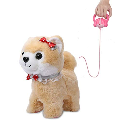 Shinehalo Elektronisches Haustier, Gehen Gebell Puppy Hundespielzeug Pet Elektro Plüsch Hund Interaktive Spielzeug mit Fernbedienung Leine, Geschenk Spielzeug für Kinder (Braun)