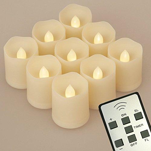 Teelicht Fernbedienung (9 LED Kerzen [Upgrade 2015 mit Timer, Fernbedienung & Batterien] - 3 Modi Dimmbare Teelichter LED Votive Weihnachtskerzen)