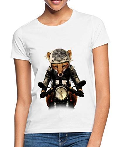 Spreadshirt Fuchs Motorradfahrer Biker Frauen T-Shirt, S (36), Weiß -