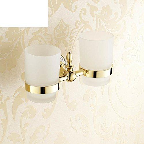 Kostüm Einfach Duo - HCP Continental Gold Doppelglasbecher/Zahnbürstenhalter antik/Edelstahl 2 Tassen/Tumbler Kostüm