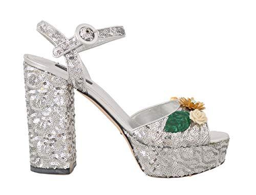 Dolce & Gabbana - Damen Sandalen - Leather Sequin Crystal Sandals - EU 39