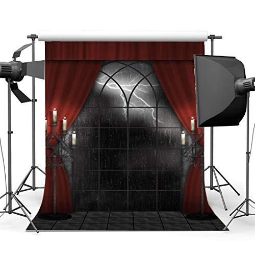 BuEnn 5X7FT Gotik Kulisse Regen Nacht Nacht Vinyl Kerzenständer Französische Schärpe Rote Vorhang...