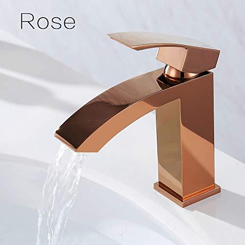 ROKTONG Waterfall Faucet Brass Bathroom Basin Water Mixer Matt Black Rose Chrome Brushed Nickel Single Tap Ware,B