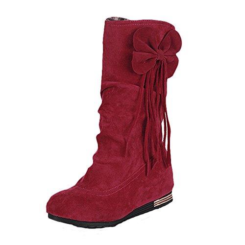 MEXI Frauen Wedge Flache Schuhe Stiefel aus Wildleder Bowknot-Frauen-Absatz-reizvolle Dame Boots Beige Tie Bow Pump Platform Ankle Schuhe Style-02-Rot