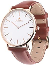 Aurora Men's Classic Business Metal Quartz Analogue Round White Dial Brown Leather Strap Wrist Watch Featuring Rose Gold Tone