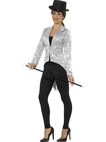 Smiffys, Damen Pailletten Frack Jacke, Größe: 36-38, Silber, (Kostüm Damen Frack)