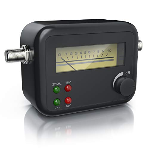 CSL - Sat-finder - Rilevatore di Segnale satellitare - VU Meter analogico - Misuratore con Segnale Acustico - Universale - Alta sensibilità d\'ingresso - Potenziometro di regolazione - Nero