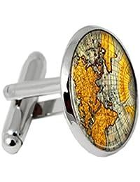 Dabixx 1 par Gemelos para Hombre, Encantos Mapa del Mundo Gemelos 3 Color Redondo Joyería Hombres Camisa Regalos Puños Vintage - Plata