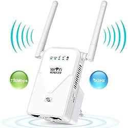 AC750 Répéteur WiFi 5GHz Amplificateur WiFi Double Bande Wifi Extender Booster Routeur, 2 Port Ethernet, WPS, Compatible avec toutes les Box Internet , boost et répète le signal jusqu'à 750Mbps