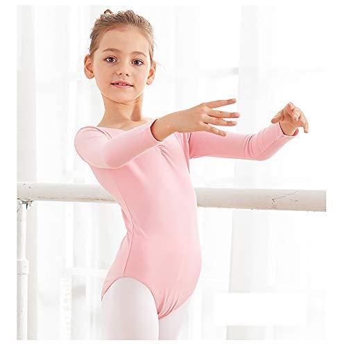 Rosa Lange Ärmel offene Brusthosen für Tanzbekleidung Kinderkleidung Tanzkleidung Mädchen Mädchen Ballettübungskleidung Kinder Gymnastikkleidung Anzug Länge 130 cm