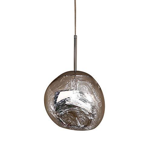 FREIHE Verstellbar Hängelampe E27 Hängleuchte Modern Pendellampe Lava Stahl Silber Ø28cm Kreativ Pendelleuchte Leuchte Lampe Schlafzimmer Esszimmer Küche Aisle Studio -