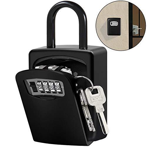 Caja de Cerradura con llave Montado en Pared Clave Caja con Candado de 4 Dígitos Combinación de Bloqueo Exterior e Interior Seguridad llave Storage (Negro)
