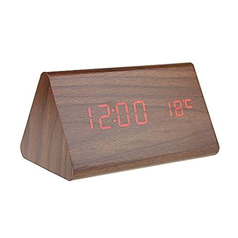 FakeFace Digital LED Wecker Holzoptik Reisewecker USB Schreibtisch Wecker mit Zeit, Temperatur und Datum Anzeige,Geräuschaktiviert & Helligkeit