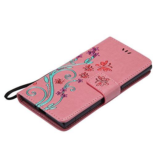 ISAKEN Custodia per Sony Xperia XZ con Strap, Elegante borsa Tinta Unita Farfalla Design in Sintetica Ecopelle PU Pelle Protettiva Portafoglio Flip Case Cover con Supporto di Stand / Carte Slot / Chiu Flowers: rosa