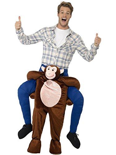Smiffys, Herren Huckepack Affen Kostüm, Einteiler mit Beinen, One Size, Braun, 24650 (Herren-affe)