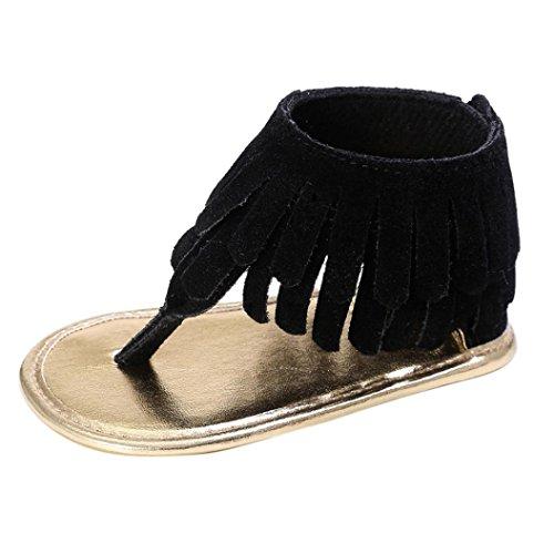 ❤️Chaussures de Bébé Sandales, Amlaiworld Été Enfant Fleur Ssemelle Molle Sandales Chaussures de Fille Sneakers Anti-dérapantes pour Bébés Pour 0-18 Mois (13/12-18Mois, Noir)
