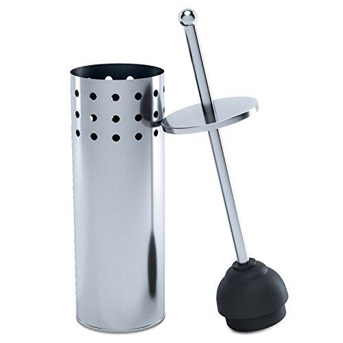 Home Intuition freistehend zersetzung WC Plunger mit belüftetem Kanister und Drip Cup, edelstahl, stahl, Large Wc Plunger