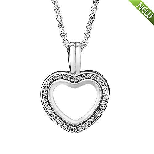 Funkelnde schwimmende Herz Medaillon Halskette 925 Silber DIY passt für Original Pandora Armbänder Charm Modeschmuck ()