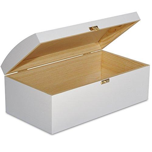 XL Große Weiß Holztruhe Schatztruhe mit Schloss Holzkiste Kiste Spielzeugkiste Holzbox mit Deckel - 25 x 15 x 17 cm - Unlackiert Kasten ohne Griffen - Ideal für Wertsachen Spielzeuge Werkzeuge (Truhe Kasten Werkzeug)