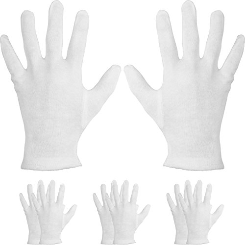 4 Pairs Cotton Moisturizing Gloves Cosmetic Hand Spa Gloves Moisture Enhancing Gloves for Dry Hands, Eczema, White Test
