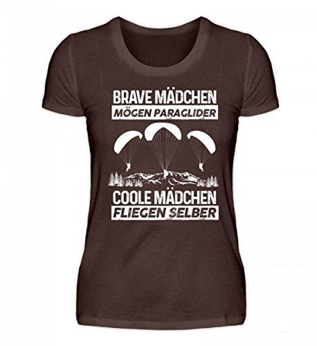 Shirtee Hochwertiges Damen Premiumshirt - Brave Mädchen Mögen Paraglider, Coole Mädchen Fliegen Selber Frau Geschenk Gleitschirmfliegen