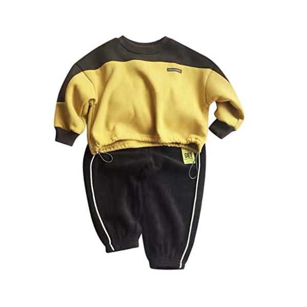 Tefamore Conjuntos Deportivos Ropa Bebé Niño Retazos Letra Camiseta Tops + Pantalones de Rayas Trajes 1