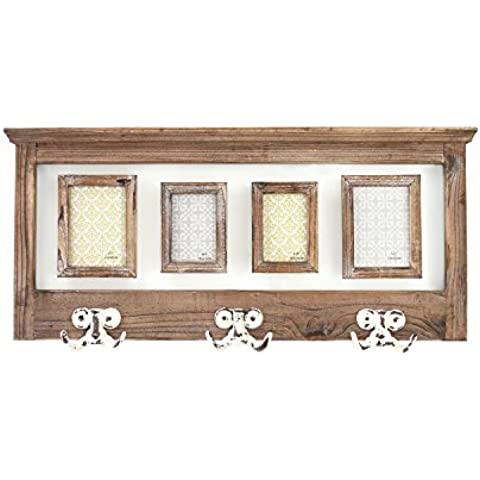 Mensola in legno con ganci e