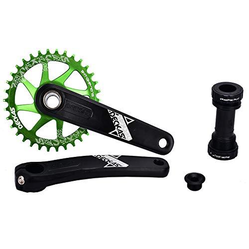 32T 34T 36T 38T Einteiliges Kettenrad-Gebirgsfahrrad-einzelnes Kettenblatt GXP-Kurbel mit zentraler Welle für Rennrad, Mountainbike, BMX MTB Bike ( Farbe : Grün , Größe : 34T )