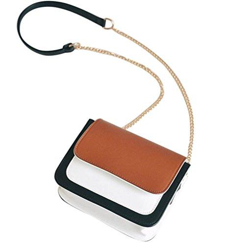TPulling Large Capacity Leder Clutch ExquisitMode Traf Die Kettenkette Schultertasche (Braun) Braun