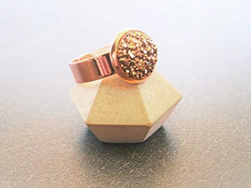 Ring Roségold vergoldet Schmuck druzy Glitzer