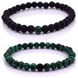 Armband Männer mit Perlen, Herren Armband, Perlenarmband Unisex in verschiedenen Farben (Schwarz - Grün)