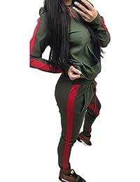 Homebaby Tuta da Ginnastica Donna Uomo Unisex Elegante Splice Tute Felpa  con Cappuccio + Pantaloni Set Ragazze Giacca Pullover… 70de92f5534