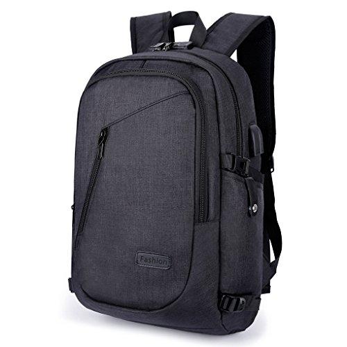 Domila Anti Diebstahl Business Laptop Rucksack mit USB-Ladeanschluss, wasserdichter Reiserucksack für Männer und Frauen (schwarz) (Ipad-tasche Für Frauen)